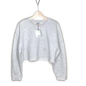 Zara • Trafaluc Gray Cropped Sweatshirt Size Small